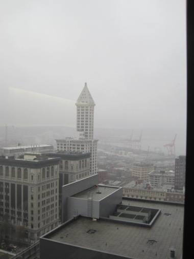 The Smith Tower in the fog