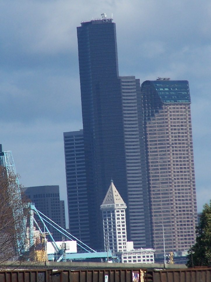 Smith Tower dwarfed