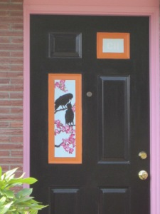 Crow Painting on Front Door - Barton Street Seattle