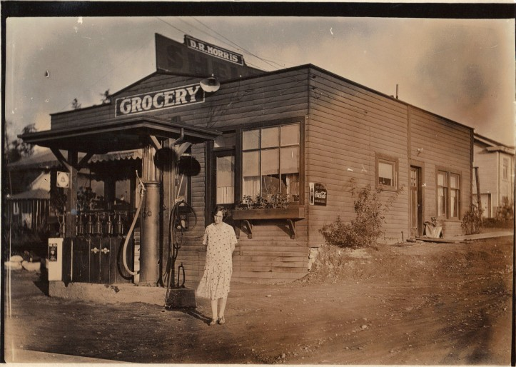 Grandma Morris in the 1920s at the family grocery & gas station