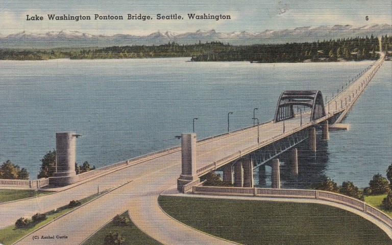 Postcard 1940 Lk WA Bridge