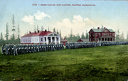 Dress Parade Ft Lawton 1900s - see the Post Exchange & Band House.