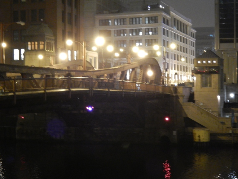 Clark Street Bridge over Chicago River -  See Thompson Building in background