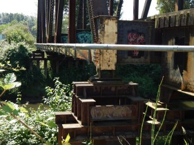 Graffiti on old Railroad Trestle over Green River