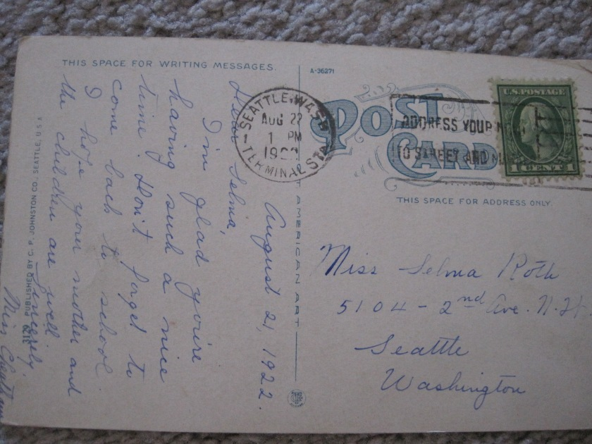 Lk WA Blvd 1914 postcard back - postmarked 1922
