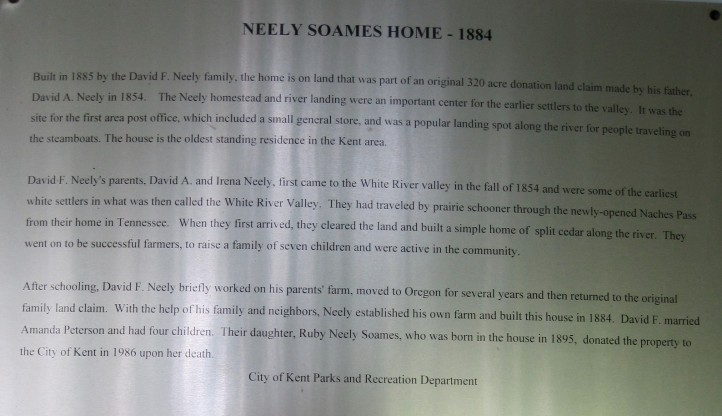 History of Neely Homestead in Kent, WA