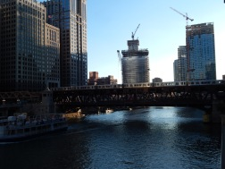 """Chicago River bridged with the """"L"""" on one of them."""