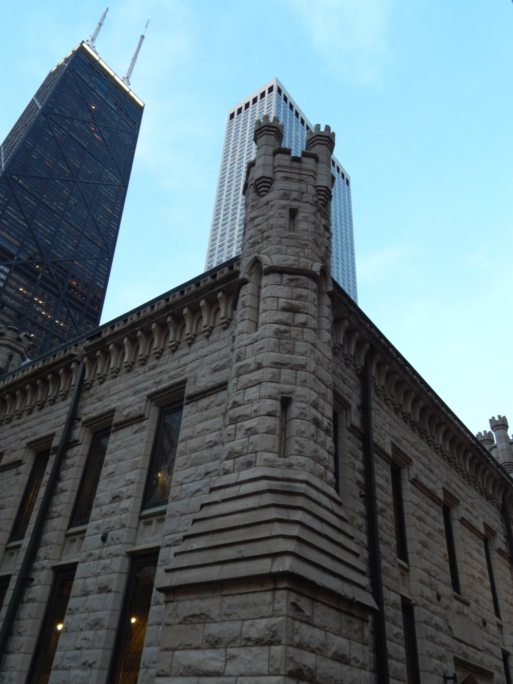 Chicago Avenue Pumping Station in shadow of John Hancock Center