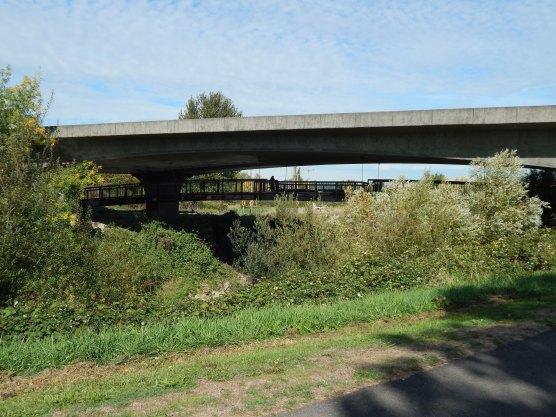 Hanging pedestrian bridge under 516