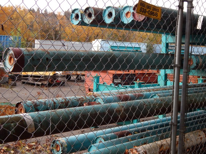 Turquoise pipes in storage
