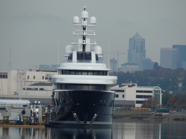 Spectacular Boat and Seattle on Duwamish