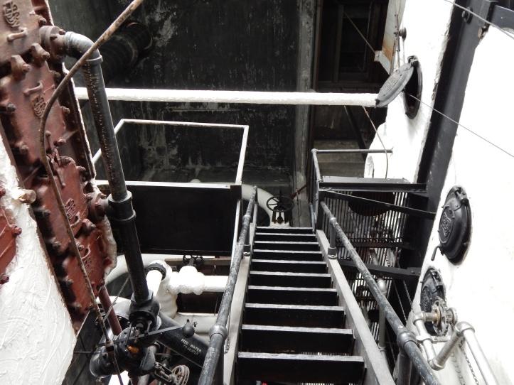 Stairs upward in boiler room