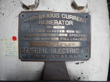 Continuous Current Generator Mfg Plate