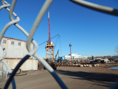 Crane with active yard in what used to be Silver Bay