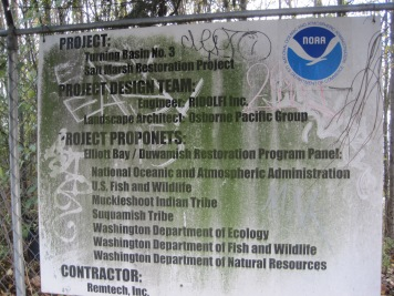 NOAA sign announcing Turning Basin #3 - next to RV Homeless site.