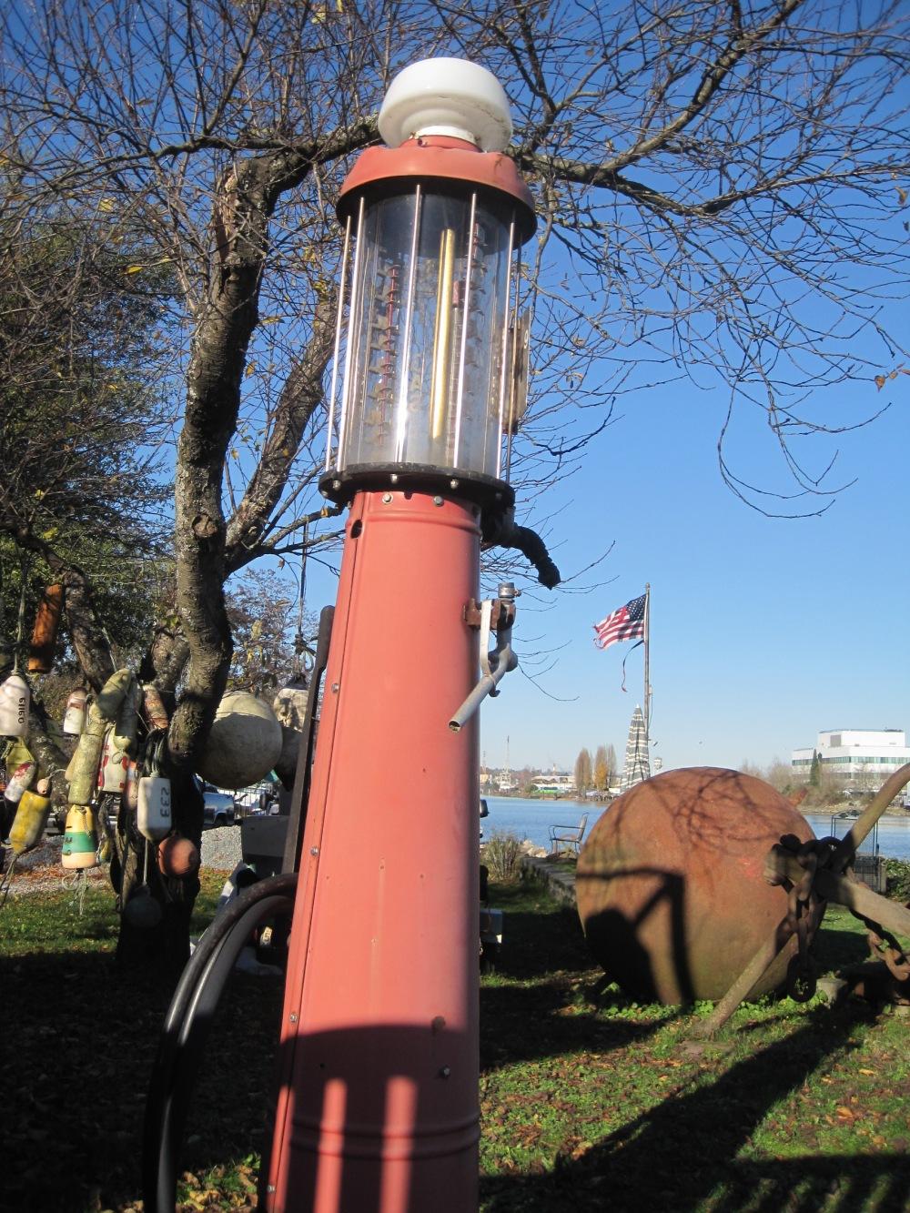Old Gas Pump in Duwamish River back yard.