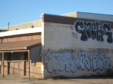 Graffiti on building on Portland Street