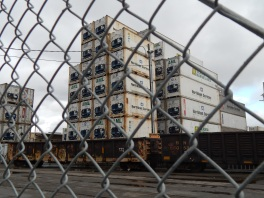 Containers stacked high west side Duwamish