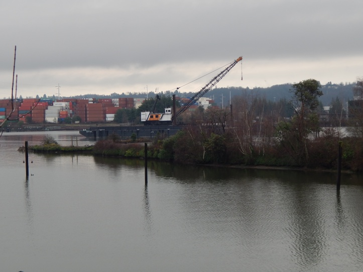 Cranes and barges at northern tip of Kellogg Island, Duwamish River