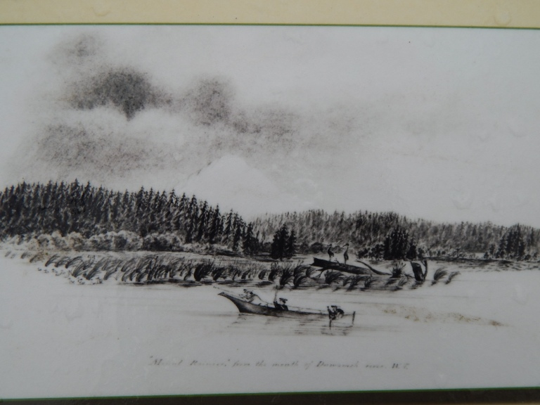 Mt Rainier and mouth of Duwamish sketch from 1854 - from signage at T-107 Park.