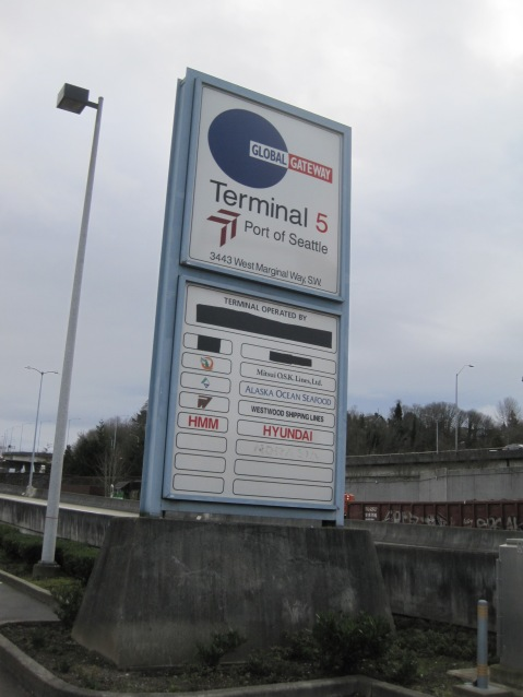Terminal 5 sign at entrance of overpass