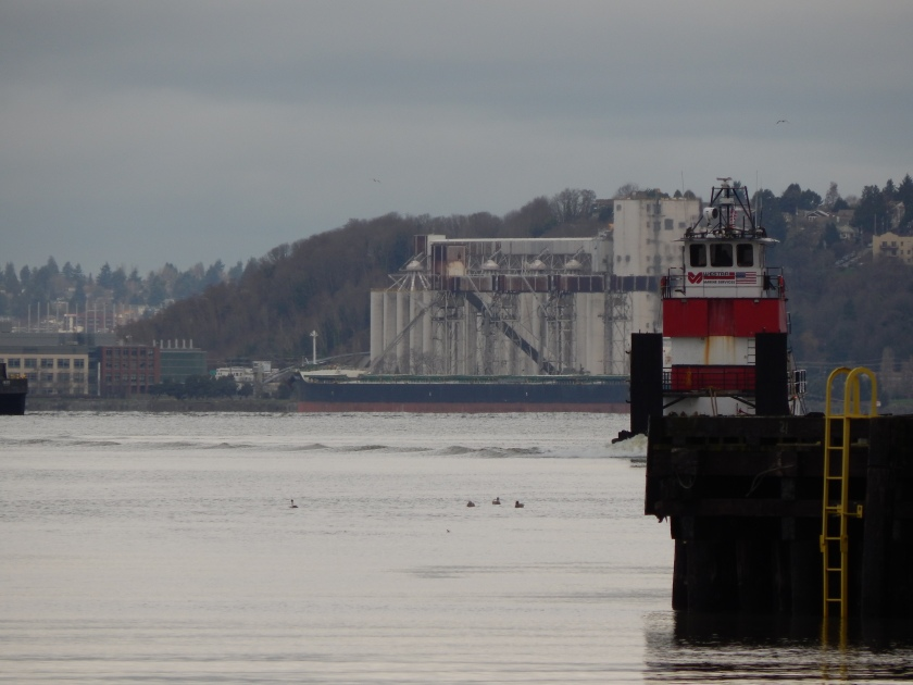 Red Tug approaches entrance to Duwamish Waterway