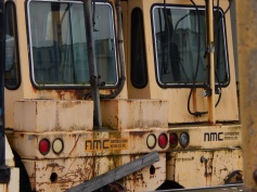 Old rail cars stored behind T-7