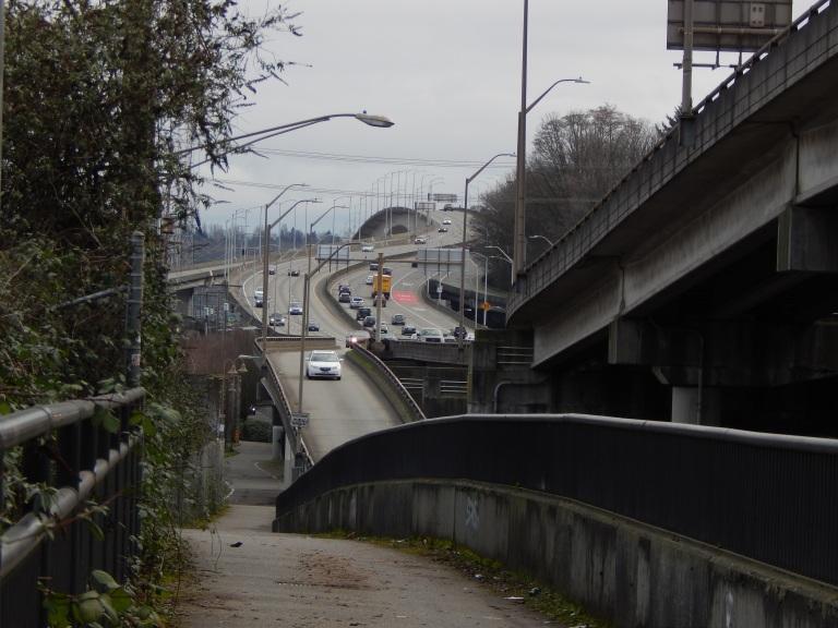 East view of West Seattle Bridge from Alki Trail