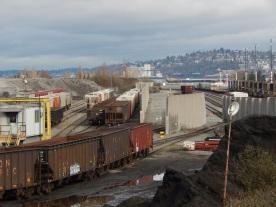 Piles of dirt and old scrap yard