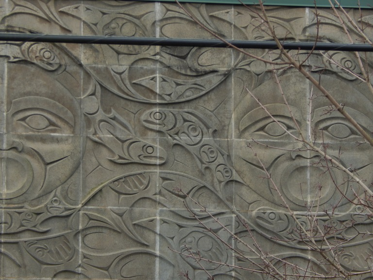 Art in cement on King Co Water Building