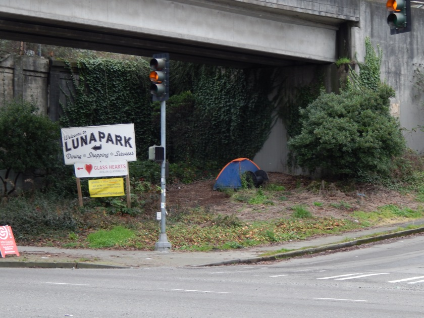 Homeless tent at intersection of Harbor and Spokane SW