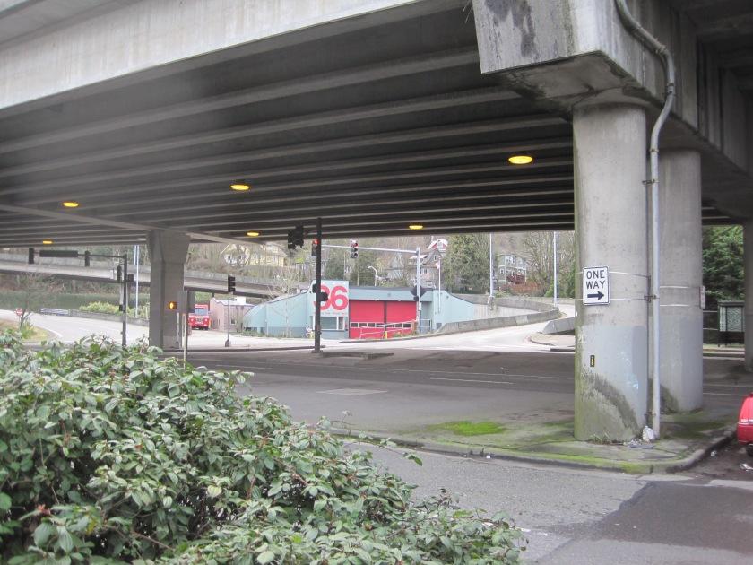 Seattle Fire Station 36 under the bridge