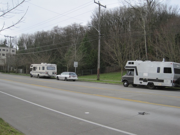 Homeless RV's on Harbor Avenue