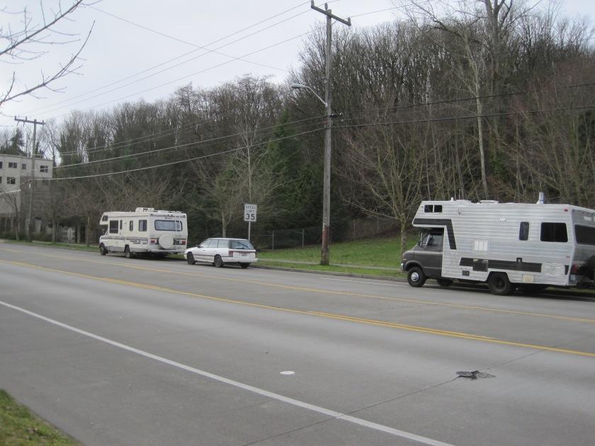 Homeless RV's on Harbor Avenue