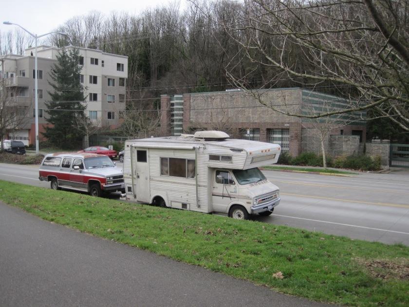 Homeless park across from King Co Water Bldg