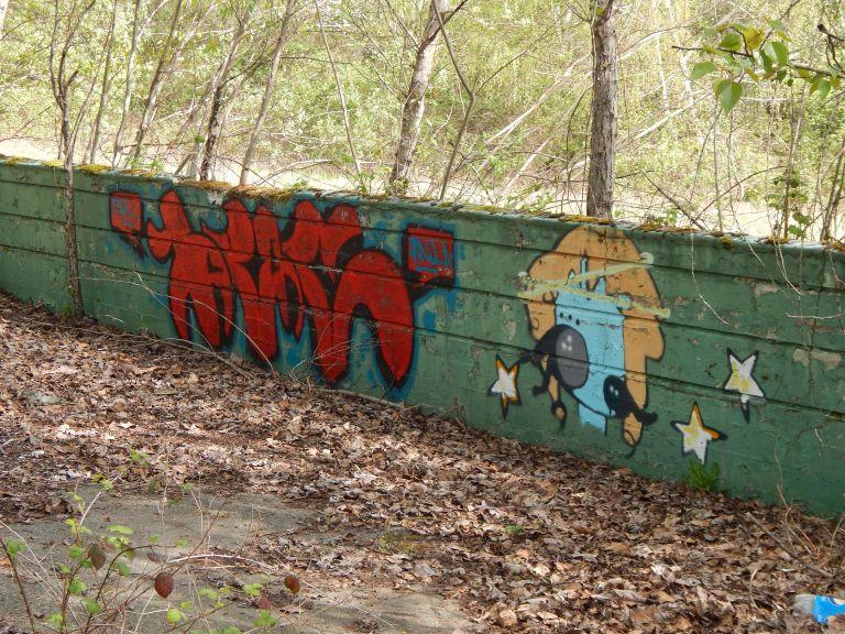 Graffiti on Longacres Green Wall Ruins