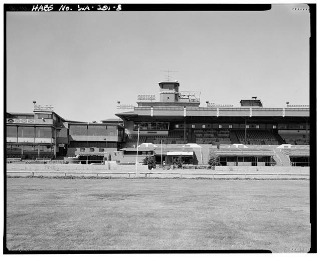 Longacres Racetrack Finish line in 1993 from across the track