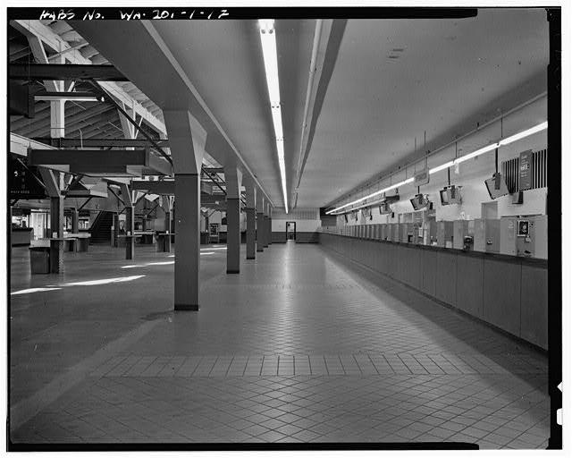 Original Longacres Grandstand betting windows - red tile view