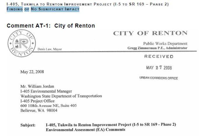 Renton Letter to DOT header - 2008
