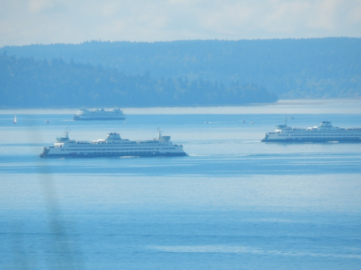 Ferries pull away after passing each other