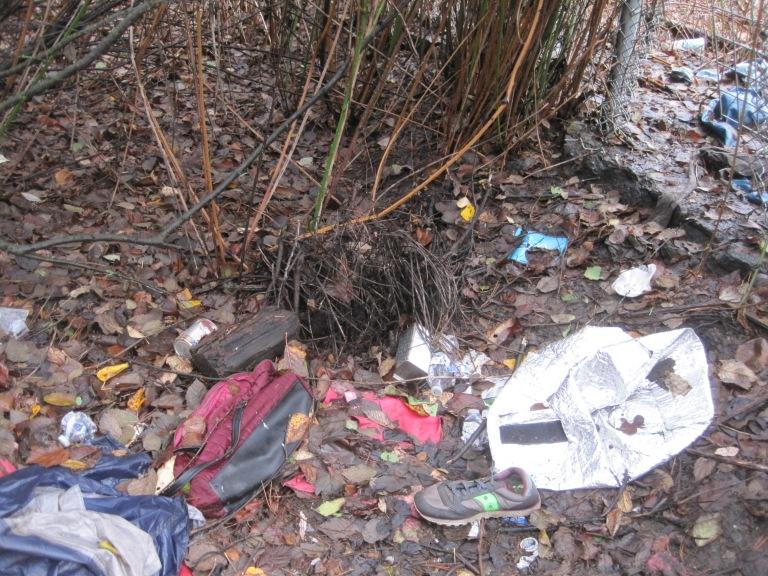 Trash from homeless in Herring House Park