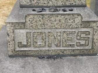 Close up of Jones Monument with Coal from the Indian Coal Mine